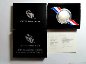 2014 D BASEBALL HALL OF FAME PROOF CLAD HALF DOLLAR WITH BOX & COA