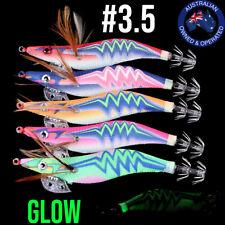 5x #3.5 SQUID JIGS Fishing Lures Egi Glow Rattle Jig Calamari Squid Jig Case