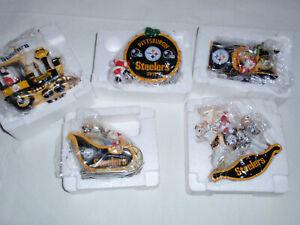 Lot of  5 Danbury Mint Pittsburgh Steelers Christmas Ornaments 2005 07 08 10 11