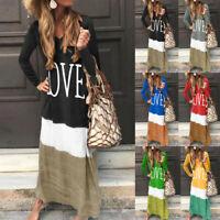 Womens Boho Maxi Dress Summer Ladies Plus Size Long Sleeve Kaftan Long Dress LIU