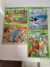 Vtg 1999 Lot 4 Patch Puzzles 25 Piece Age 3-7-Dogs, Horses, Garden, Sea-Mammals