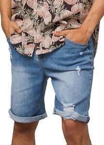 kurze Jeans  Zerrissen Shorts Hose Denim Destroyed Sommer Herren Stretch Löcher
