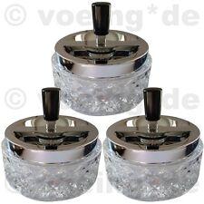 3x Design-Aschenbecher aus Glas mit Drehfunktion Sturmaschenbecher 12x11 cm hell