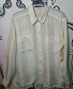 Size 16 Linea V White Semi Sheer 100% SILK Long Sleeve Shirt Blouse