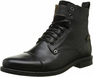 Levi's Emerson Black Mens Leather Mid Ankle Army Boots