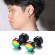 Rainbow Color Gay LGBT Pride Dumbbell Earrings Stainless Steel Ear Studs Enamel