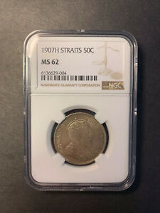 Straits Settlements Edward VII silver 50 cents 1907H toned uncirculated NGC MS62