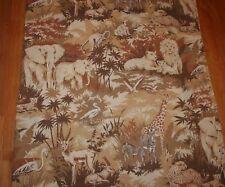 Vintage Jungle Animal Safari Full Flat Sheet Giraffe Lion Tiger Elephant Foliage