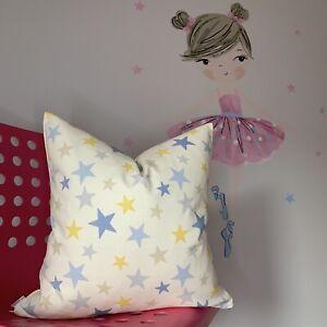 "Cushion Cover 16"" Prestigious Textiles Fabric Stars 100% Cotton Yellow Blue Grey"