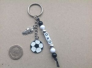 FATHERS DAY GIFT, DAD, DADDY, BEST DAD or ANY NAME Handmade Football keyring.