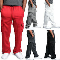 Mens Straight Leg Casual Sweat Pants Loose Trousers Sports Cargo Pocket Joggers