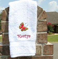 Personalized Embroidered Shocking Pink Lime Green Butterfly White Hand Towel