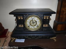 MANTLE CLOCK AMERICAN  GOTHIC WOODEN CASED  STRIKE  1YR WARRANTY