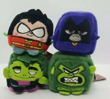 "DC Teen Titans Go KAWAii Cubes 2"" Plush Dolls Set of 4 Robin Beast Boy Raven NEW"