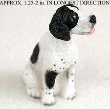 Pointer Mini Resin Hand Painted Dog Figurine Statue Blk/Wht
