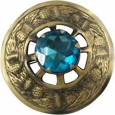 H M Scottish Highland Kilt Fly Plaid Brooch Sky Blue Stone Antique Finish 3 inch