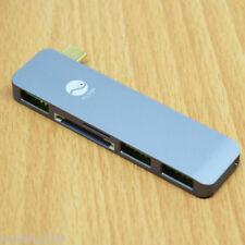 1pc Gunmetal USB C Type C to 5 in 1 USB 3.0 HUB Charging & Data Sync Adapter