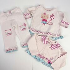 Naartjie Baby Girl Size 6 12 Months Pink 3 Piece Outfit Set Cat Ruffle