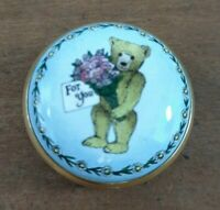 Halcyon Days Enamel For You Bear  With Flowers Trinket Pill Screw On Lid Box