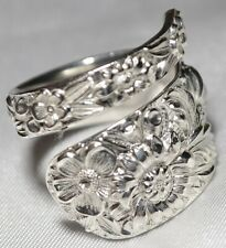 Brilliant! Kirk Repousse Sterling Spoon Ring Size 7 ( But Sizable) Free Ship