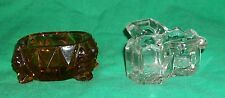 OLD EAPG GLASS BOSTON SALT PEPPER CELLAR CHIPPENDALE + AMBER BROWN CAMBRIDGE VTG