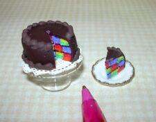 Miniature CHECKERBOARD Cake on  PEDESTAL PLATE w/Slice IGMA: DOLLHOUSE  1:12