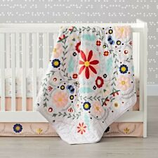Crate and Barrel Kids Baja Garden Embroidered Floral Baby Crib Quilt Brand New