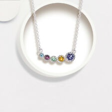 Rainbow Multi-Color Blue Topaz Amethyst Royal Citrine Sterling Silver Necklace