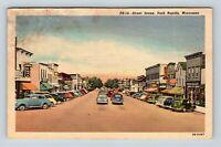 Vintage Linen View of Street Scene, Drugstore Cafe, Park Rapids MN, Postcard X15