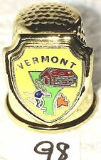"3/4"" Thimble Sew Sewing Notions Souvenir Brass Colored Vermont Skier Barn Maple"
