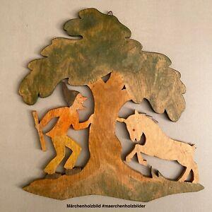 Märchen Figur Holz Bild RAR 1930er Klara Sturm: Tp Schneiderlein+Einhorn 21x20cm
