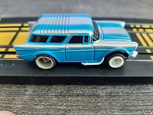 JT Blue -Silver AFX TYPE 57 CHEVY NOMAD BODY HO SLOT CAR running