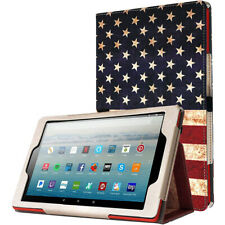 Fire HD 10 2019 Tablet Case,Poetic Tri-fold Leather Flip Smart Cover (US Flag)
