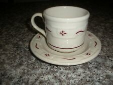 Longaberger Traditional Red Woven Traditions 8oz Coffee Tea Mug Cup Made in Usa