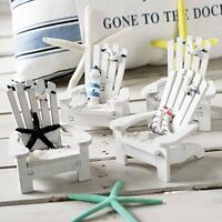 Mini White Wooden Chair Dollhouse Home Sea Beach Decor Ornament Set of 4