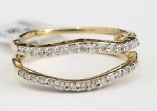 14k Yellow Gold Round Diamonds Solitaire Enhancer Wedding Ring Guard Wrap Jacket