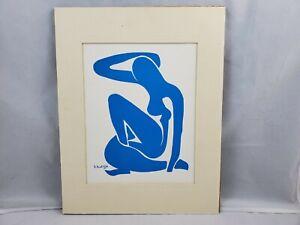 Vintage Henri Mattise Femme Nu Bleu I-IV Abstract Blue Woman Litho Print Signed