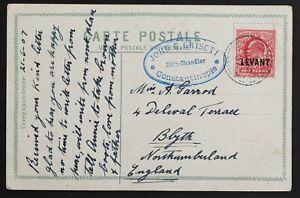 British PO Constantinople 1907 Levant Forwarding agent Griscti 1907 (Jun 22) PPC