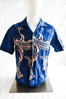 RJC Hawaiian Shirt Made In Hawaii USA Sz S Blue Gold Vintage Short Sleeve Turtle
