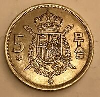 1975 5 PTAS Spanish Rare Collectable Coin Spain Pesetas