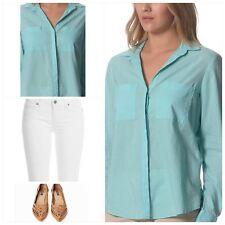 Women's Aqua Plain Cotton Long Sleeve Summer Shirt Top Blouse **NEW Size AU 16