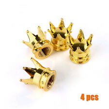 4Pcs Universal Gold Crown Truck Car Tire Air Valve Stem Cover Caps Wheel Rims