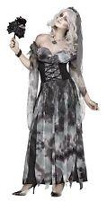 Women's Cemetery Bride Costume Fancy Dress Halloween Grey Dead Zombie Adult