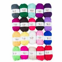 20 Roll x 25g Yarn Lot Mixed Color, Skeins Knitting, 3-DK Weight, 1000 Yards