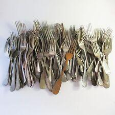 Vintage Bulk Lot of 100 Worn Silverplate Cutlery Forks, Arts Crafts Use, Lot #1