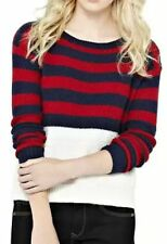 Women's Striped Crew Neck Button Jumpers & Cardigans
