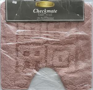 Checkmate Contour Bath Mat Rose by Hyde Park 50x50cm. 100% Polyester. PVC Back