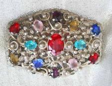 "Fabulous Baroque Silver-tone  Multicolored Rhinestone Brooch 1920s vint. 2 1/2"""