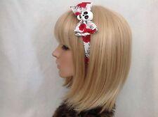 Skull headband hair bow rockabilly pin up girl gothic psychobilly rose punk red