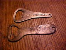 New listing 2 Vintage Hotel Bottle Openers,Hotel Statler,Hotel Vancouver
